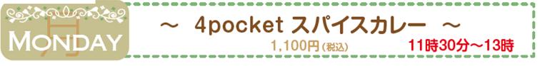 4pocket スパイスカレー 月曜日 1,100円(税込) 11時30分~13時
